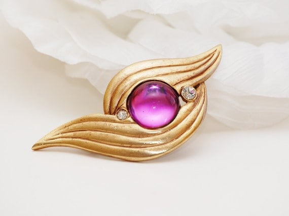 1980s Abstract Pin with Pink Cabochon and Rhinestones.