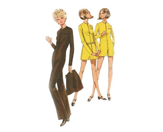 1960s Mary Quant Jumpsuit Pattern, Zip Front, Long or Short - UNCUT - Bust 34