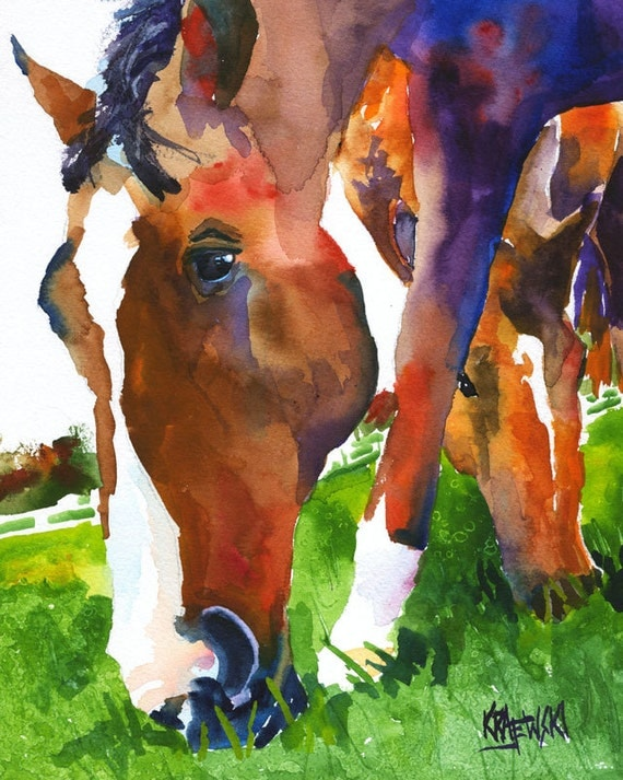 Grazing Horses Art Print of Original Watercolor Painting 8x10
