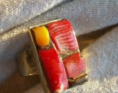 Mosaic Ring Hand Wrought Biker Art Jewelry RED and Orange Coral  OOAK and unique sz 7