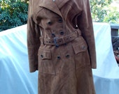 70s Suede Trench Coat Swedish Mod Boutique offering Bust 36 Tall Gal Fantastic Condition Rounded Dog Ear Collar CUTE
