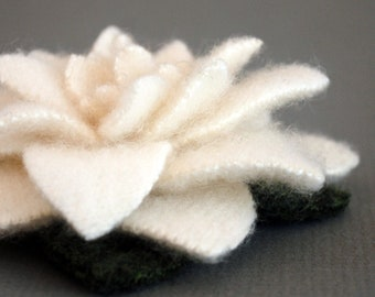 Snow White Recycled Cashmere Flower Pin