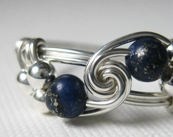Lapis Lazuli Ring Wire Wrapped Sterling Silver Duet