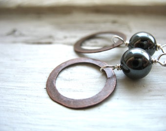 Hematite Earrings, Stone Copper Hoop Dangle Drop Earrings, Handmade Artisan Gemstone Jewelry