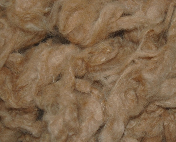 Baby Alpaca Fiber, SALE- Spinning Fiber, Doll Hair, Wet Felting and Needle Felting, Like Down, Camel, Fawn, 9.1 oz.