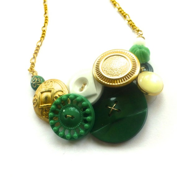 Irish Green and Brassy Button Necklace