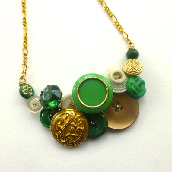 Celtic Green, White, and Gold Brass Vintage Button Necklace - Irish Theme Jewelry