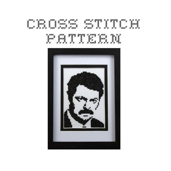 DIY Ron Swanson - .pdf Original Cross Stitch Pattern - Instant Download
