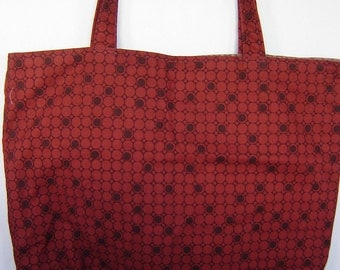 Large Tote-Dots & Circles on Dark Red (Bag 439)
