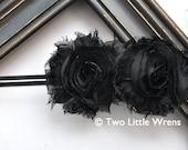 Zoe Flower Headband - Black Double Shabby Chic Flowers - Baby Headband to Adult Headband - SPRING SALE - See Shop