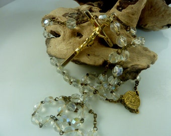 Rosary 5 Decade  Multi faceted Crystal French Vintage Rosary
