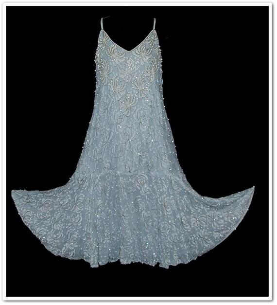 Vintage 80s Blue Pearls Flapper Style Dress Jacket L XL