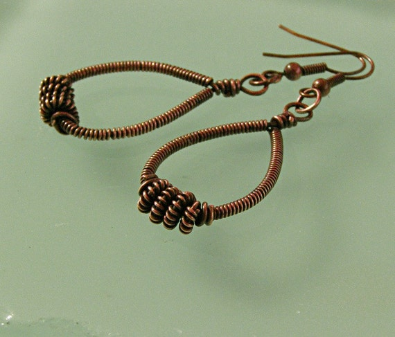 Earrings Copper Coil Wire Wrapped Teardop