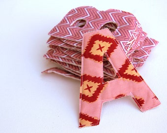 ABCs Alphabet Fabric Letters With Annette Tatum Chevron Pink Fabric