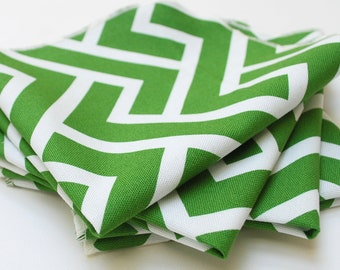 FREE OFFER Reusable ORGANIC Cloth Napkins - Set of 4- Cloud 9 - Zigzag - Grass 18 inch