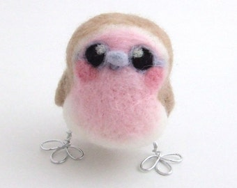 Pink Robin Needle Felted Bird Ornament Robin Decoration