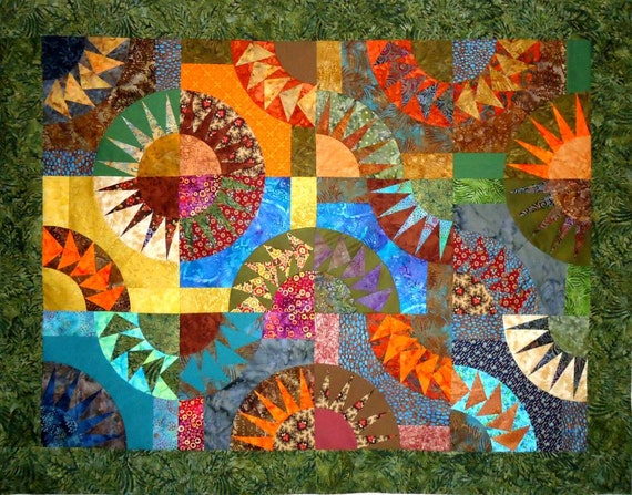 Quilt Top New York Beauty and Flying Geese Textile Art Ready to Quilt Wallhanging by Patchmaker