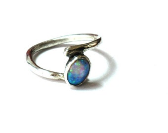 Sterling Opal Ring, Silver Opal ring, Opal Stone Ring, Blue Opal Ring, Light Blue Ring, Sterling Opal Ring, Delicate Silver Opal ring,