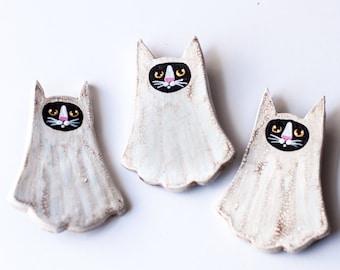 Handmade Clay Ghost Cat Brooch Halloween Folk Art