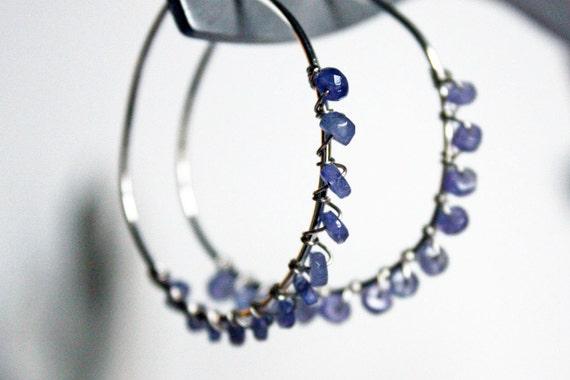 Kyanite Gemstone Sterling Silver Hoop Handmade Earrings