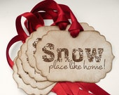 Christmas Snow Tags Etsy - Large Vintage -  Set of 5 Bright Red Ribbon