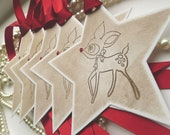 Christmas Reindeer Star Gift Tags - Pure Luxury in a Vintage Style Tag - Set of 5 - Red Glitter Nose and Bright Red Ribbon