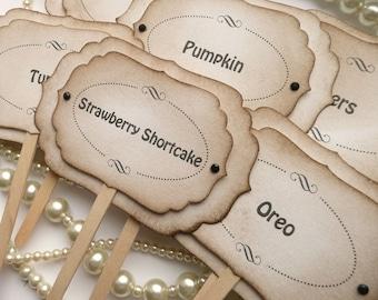 Luxury Candy Buffet Picks - Black Wedding Decoration - Set of 6 - Custom Wording