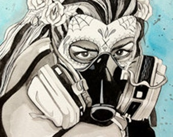 gas mask girl day of the dead print