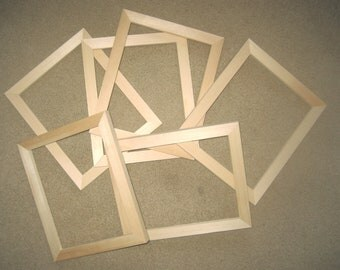 6 Unfinished picture frames narrow moulding  lots of 6 each your choice of 8x8 to 9x12