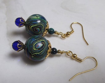 Green Blue Earrings, Swirly, Polymer Clay Beads, Cobalt, Earth