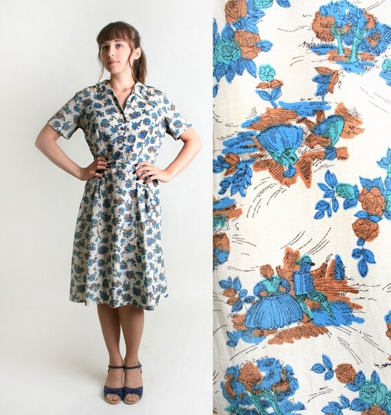 Vintage Toile Dress - Dancing Couple in The Park with Trees - Medium to Large