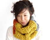 Mega Chunky Trio Knit Cowl in Pumpkin, Mustard and Grey