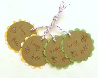 Happy Fall Gift Tags - Set of 4 Tags