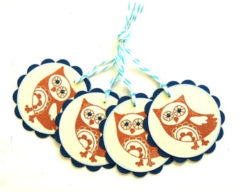 Pretty Owl Gift Tags  - Set of 4 Tags
