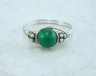 Sterling Silver Aventurine and Bali Bead Ring
