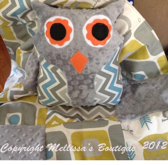 Custom Citrine Grey Blue AND Natural Palette Owls Chevron Boutique Crib Bedding Set CHOOSE & CUSTOMIZE