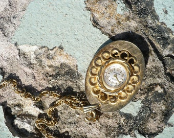 VINTAGE TIME KEEPER....wind up watch necklace - gift guide for her- mid century -weddings -stocking stuffer