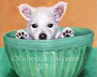 Giclee Print Dog Portrait Westie Dog Teal Fiesta Bowl by Rebecca Salcedo Ffaw