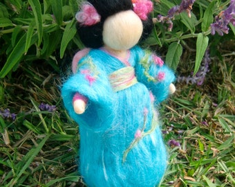 Geisha Fairy - Made to order- Traditional Japanese Maiden - Standing Wool needle felted fairy soft sculpture- Waldorf-inspired