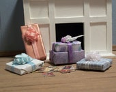 Dollhouse Miniature Shabby Chic Christmas Gifts and Postcards