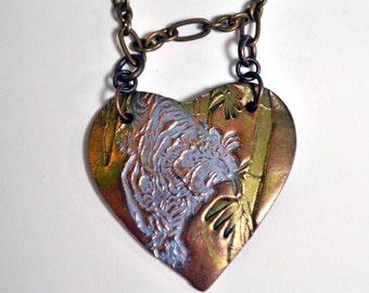 Urban Jungle Tiger Big Heart Necklace