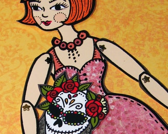 Original Fully Assembled Articutlated Rory the Redhead and her dia-de-los-muertos mask Paper Doll set