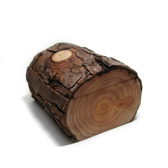 You Are My Chocolate Cake - Rustic Natural Bark Cypress Log Wooden Box by Tanja Sova