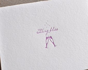 Letterpress 'Wedding Bliss' Congratulations, Shower or Anniversary Card and Envelope