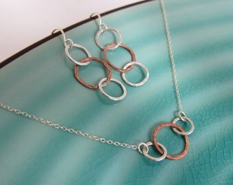 Best Friends Three Circles Sterling Silver and Gold Mixing Two Tone Necklace Earrings Set, hammered and textured, customized