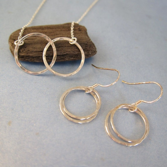 Love Locked Circles Sterling Silver Necklace and Earring Set, hammered and textured, Custom order