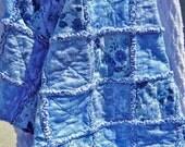 Rag Quilt Throw, Blue Floral Flannel Lap Quilt, Handmade