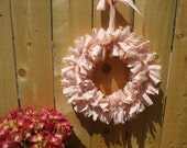 Peach Sorbet Rag Wreath Gingham Check Flannel Homespun Fabric Spring Wreath