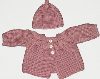 Pink Leaf Patern Baby Sweater and Hat Set