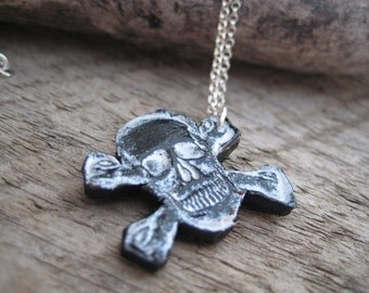 Silver Leather Skull Chain Necklace Gift